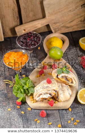 аппетитный торт изюм малиной мята Сток-фото © zhekos