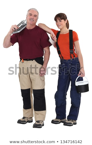 a team of tile fitters holding tools stock photo © photography33