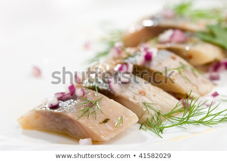macro picture of fillet herring with vegetables Stock photo © ozaiachin