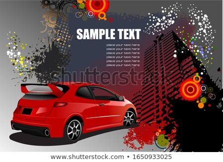 Grunge abstract hi-tech background with red car image. Vector il Stock photo © leonido