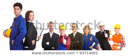 Stock photo: A couple of construction worker in a office.
