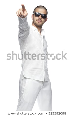 mosolyog · fiatal · szőke · nő · mutat · kép · visel - stock fotó © stockyimages