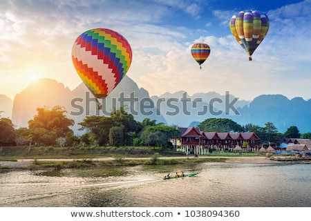 Laos kaart vlag Blauw reizen land Stockfoto © tshooter