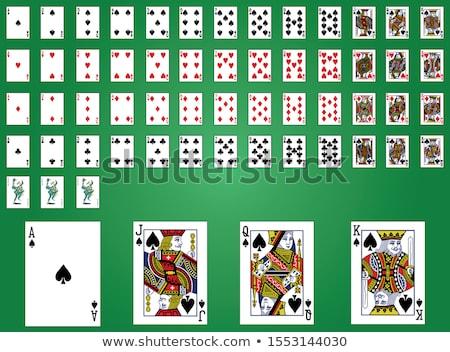Dek poker kaarten groene tabel exemplaar ruimte Stockfoto © Lizard