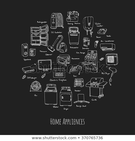 háztartási · gépek · ikonok · mosógép · teáskanna · sütő · tv - stock fotó © ikatod