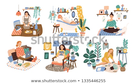 Genç kadın rahatlatıcı okuma kitap banyo kadın Stok fotoğraf © aetb