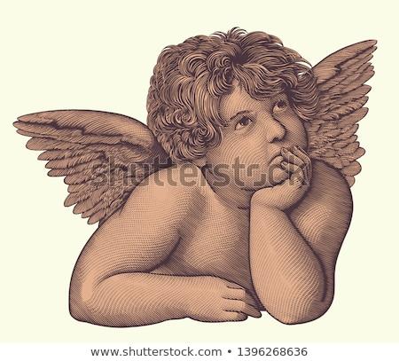 Kicsi angyal freskó öreg elavult Florence Stock fotó © ifeelstock