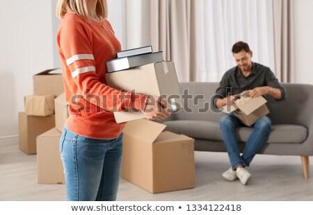 Nő hordoz nehéz dobozok munka haj Stock fotó © photography33