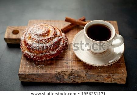 Cinnamon Bun and Coffee Stock photo © dehooks