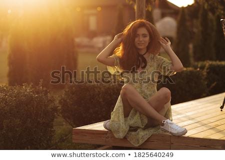 gelukkig · jonge · dame · vergadering · tabel - stockfoto © massonforstock