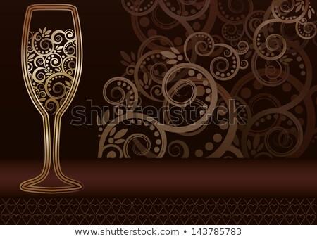 Golden Weinglas Wirbel Grußkarte Vektor Party Stock foto © carodi