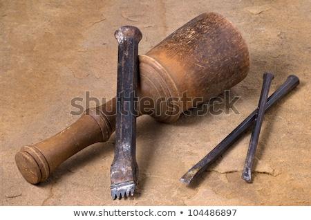 Drie metaal steen hamer roest staal Stockfoto © Zerbor