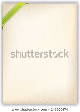 Sześciokąt Uwaga zielone wstążka rogu pasiasty Zdjęcia stock © vipervxw