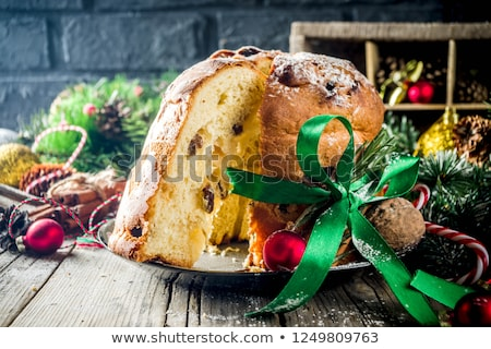 Panettone the italian Christmas fruit cake Stock photo © aladin66