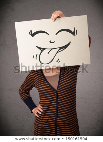 mutlu · sevimli · kız · kâğıt · komik - stok fotoğraf © ra2studio
