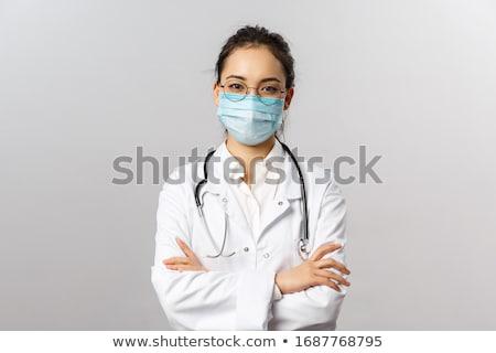 Nő orvos orvosi talár lány arc Stock fotó © Alarti