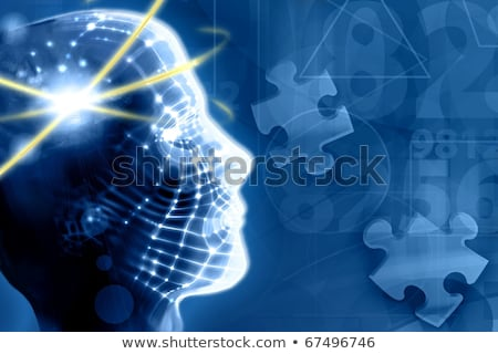 psychological concept on blue puzzle stock photo © tashatuvango