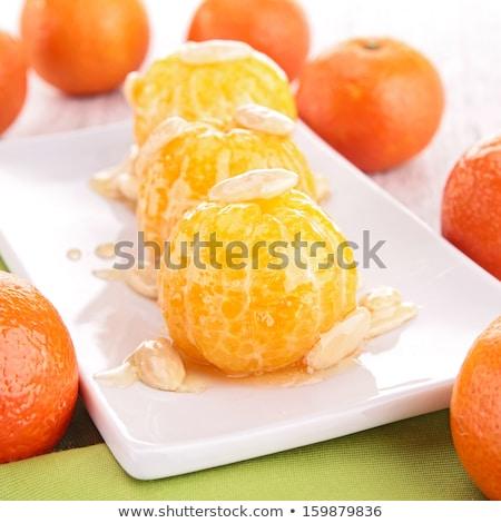 Stock fotó: Mandarin · gyümölcs · méz · mártás · mandula · friss
