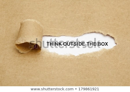 Think Outside The Box Torn Paper Stock photo © ivelin