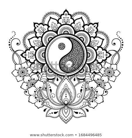 Stock fotó: Virágmintás · yin · yang · szimbólum · négy · színek · absztrakt