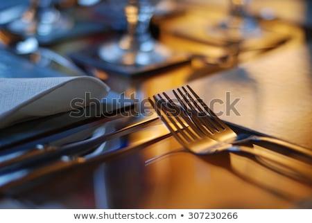 fine · dining · virágok · ebédlőasztal · hely · engem · nem - stock fotó © nuiiko