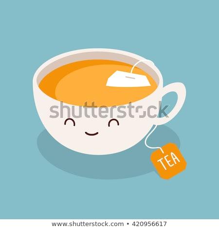 Cartoon tè tazza di caffè isolato bianco Foto d'archivio © anbuch