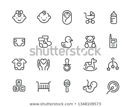 Conjunto bebê ícones menina comida Foto stock © elenapro