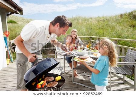 család · vakáció · barbecue · nő · ház · étel - stock fotó © monkey_business