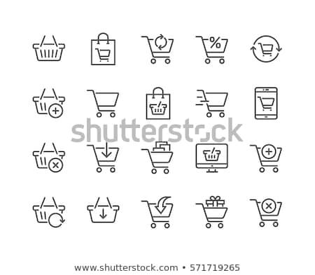 Presentes carrinho de compras colorido miniatura isolado branco Foto stock © kimmit