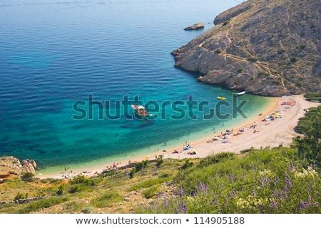 Tengerpart víz tájkép hegy kék kő Stock fotó © LianeM