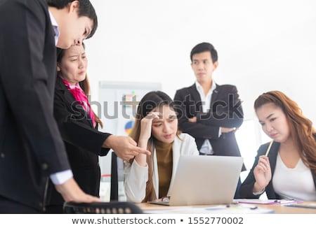portret · zakenvrouw · lijden · hoofdpijn · witte · vrouw - stockfoto © novic