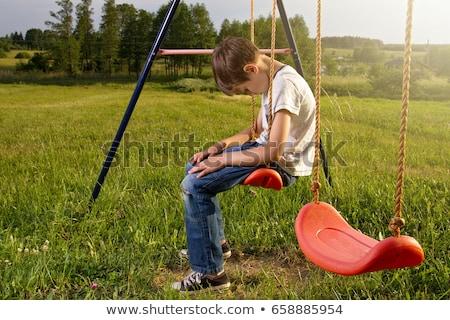 悲しい 子 公園 小さな 孤独 少女 ストックフォト © Kor