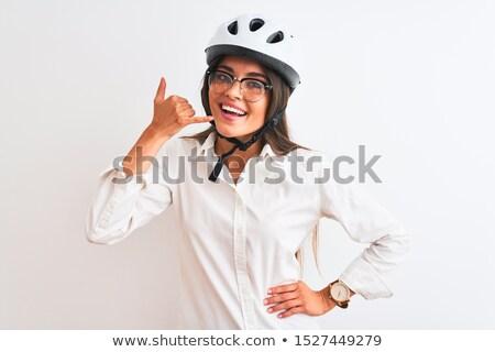 Portret młodych uśmiechnięty kobieta interesu okulary Zdjęcia stock © deandrobot