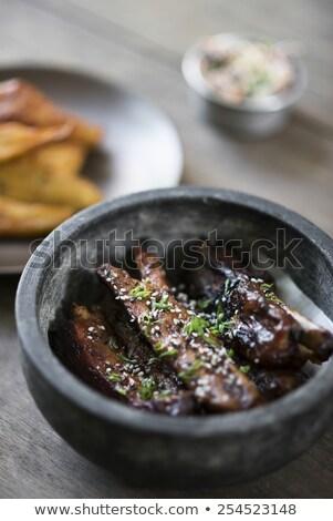 Grillezett marinált disznóhús borda édes szezám Stock fotó © travelphotography