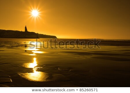 sunset view of the castle beach and cliffs in Ballybunion Stock photo © morrbyte