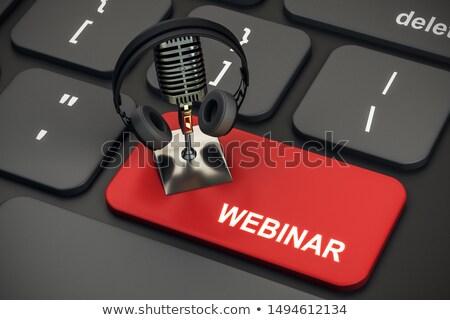 Klavye kırmızı düğme semineri Internet okul Stok fotoğraf © Zerbor