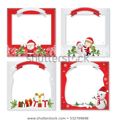 Stock fotó: ünnep · hóember · fotó · kártya · keret · kép