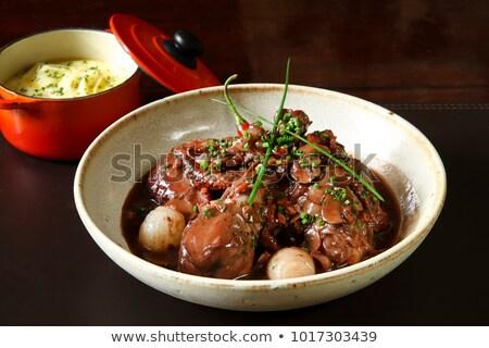 Tipik fransız yemek tavuk bacaklar sebze Stok fotoğraf © Hofmeester