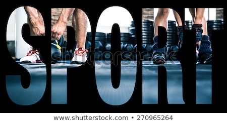 conceptual collage of sports photos in the form of the word work hard stock photo © deandrobot