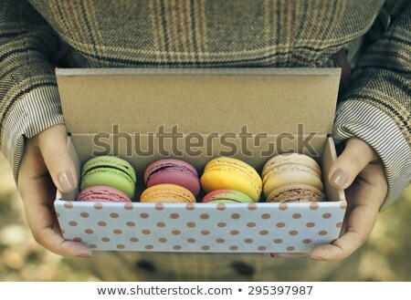 Woman holding box with colorful French macaroons in her hands Stock photo © dashapetrenko