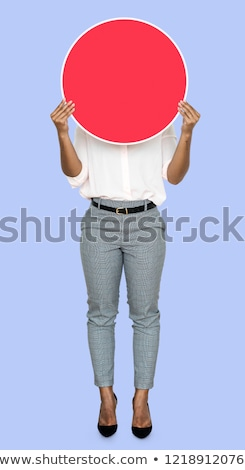 business woman cover with empty board stock photo © fuzzbones0
