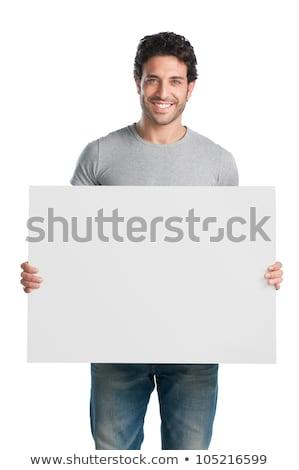 Sorridere uomo vuota bianco cartellone Foto d'archivio © master1305