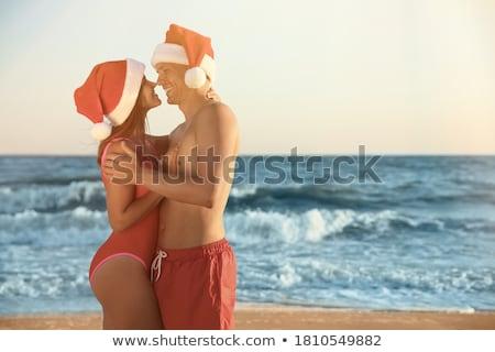 Stok fotoğraf: Noel · plaj · tatil · seyahat · kadın