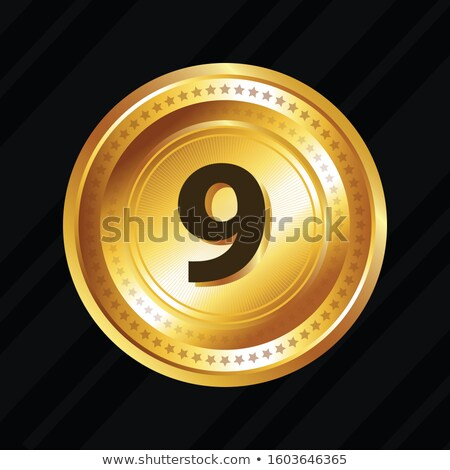9 number circular vector gold web icon button stock photo © rizwanali3d