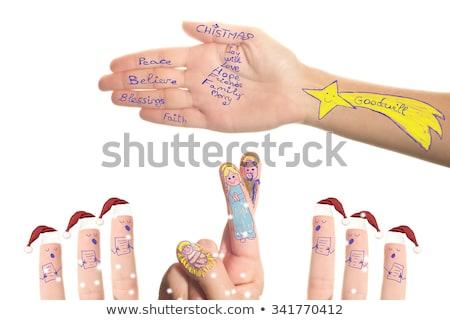 Jelenet kórus mikulás mikulás rajzolt kicsi Stock fotó © marimorena