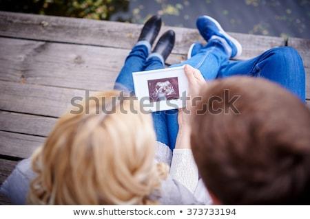 expectante · mulher · ultra-som · quadro · sorridente · escritório - foto stock © jordanrusev