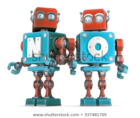 Group of Retro Robots with NO sign. Isolated. Cnotains clipping path Stock photo © Kirill_M