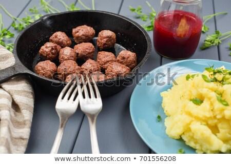 ストックフォト: ミートボール · サイド · ベリー · ソース · 務め · 前菜