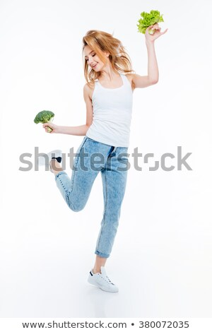 Funny woman cauliflower and green salad Stock photo © deandrobot