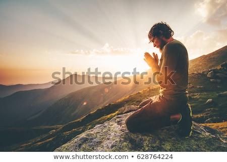 человека закат иллюстрация природы крест силуэта Сток-фото © adrenalina